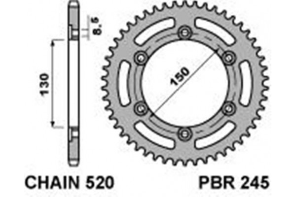 PBR REAR 245-47 SPROCKET