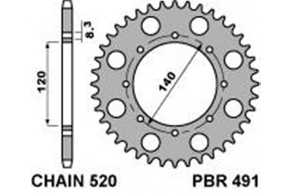 PBR REAR 491-42 SPROCKET