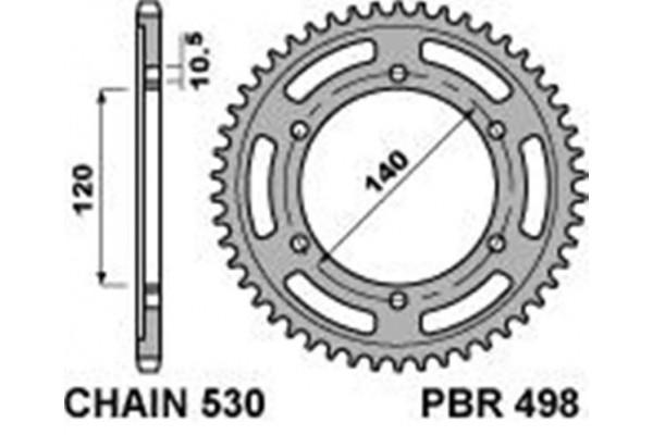 PBR REAR 498-42 SPROCKET