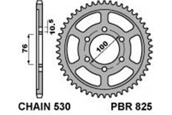 PBR REAR 825-45 SPROCKET
