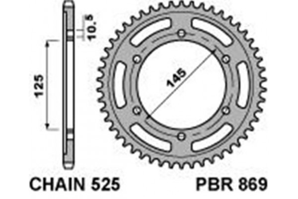 PBR REAR 0869-43 SPROCKET