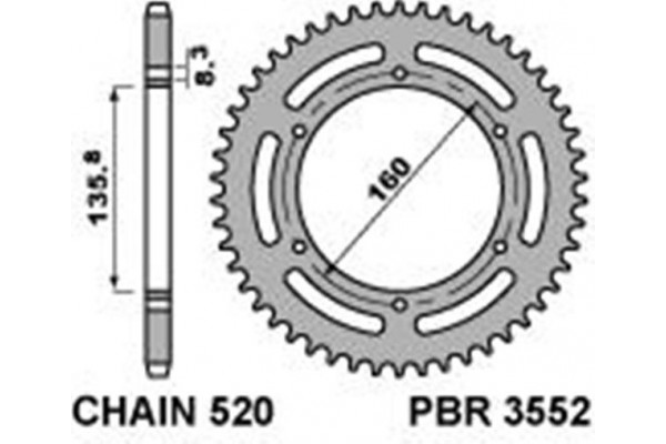 PBR REAR 3552-46 SPROCKET