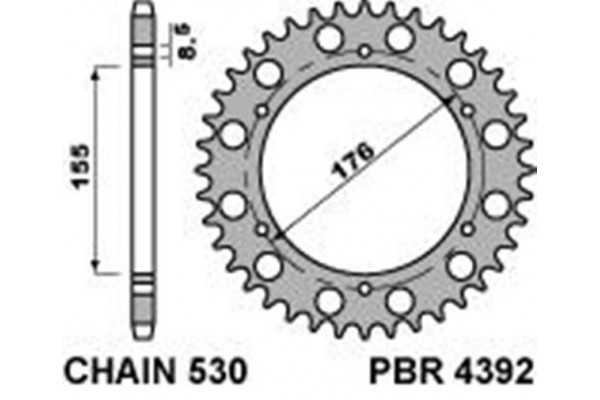 PBR REAR 4392-45 SPROCKET