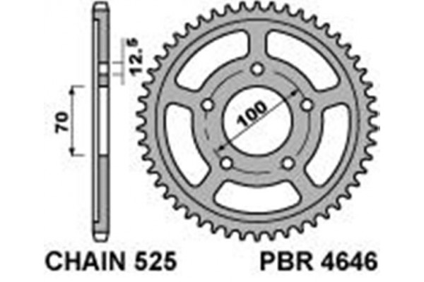 PBR REAR 4646-45 SPROCKET