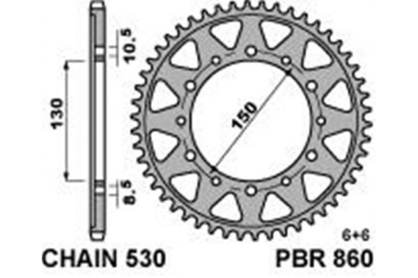 PBR REAR 0860-42 SPROCKETS