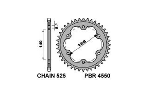 PBR REAR 4550-42 SPROCKETS