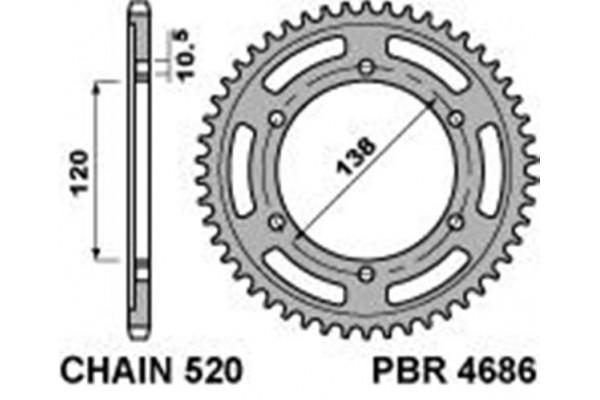PBR REAR 4686-38 SPROCKET