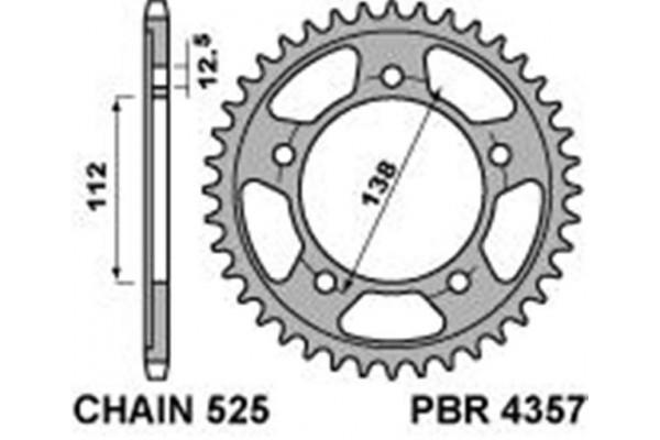 PBR REAR 4357-45 SPROCKET