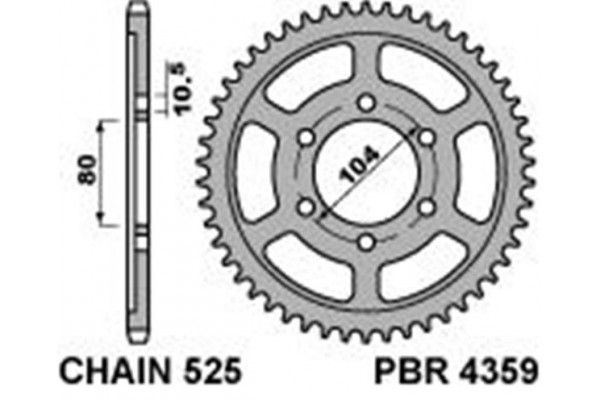 PBR REAR 4359-43 SPROCKET