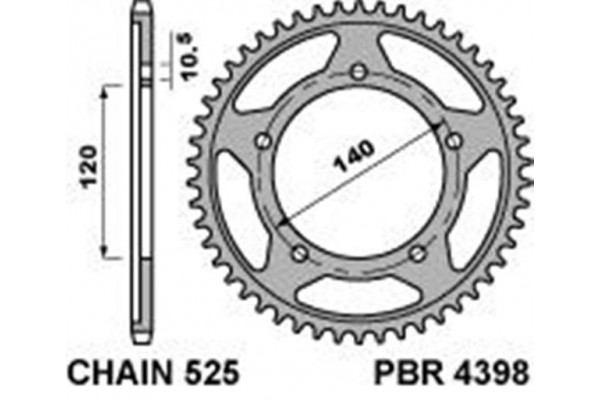 PBR REAR 4398-44 SPROCKETS