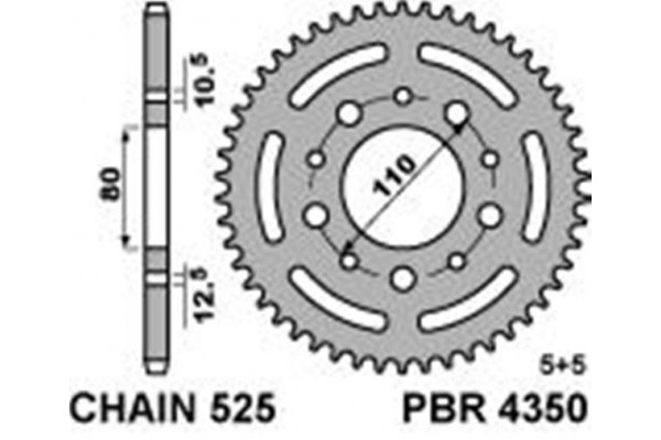 PBR REAR4350-44 SPROCKET